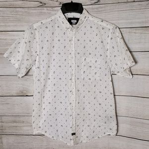 Hype Casual Short Sleeve Button-Down Shirt, Size M